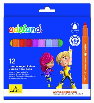 Flomasteri jumbo, 12 boja, Adeland