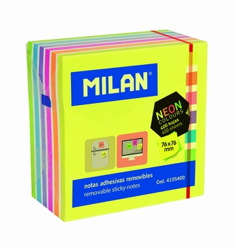 BLOK POST-IT 76X76 400L FLUO 4155400 MILAN