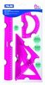GEOMETRIJSKI SET PINK (RAVNALO,2 TROKUTA,KUTOMJER) 359801P M